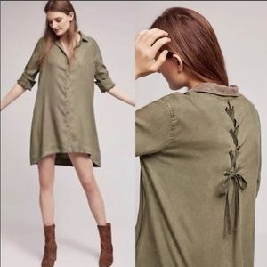 Cloth and Stone Faryn lace back dress olive green